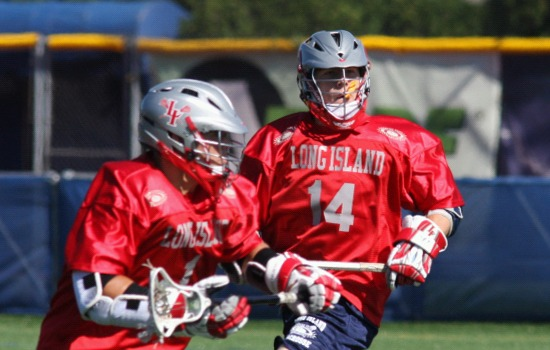 Michael Andreassi (1) and James Pannell (14) each scored twice in the second half for Long Island. Photo by Kyle Laviolette